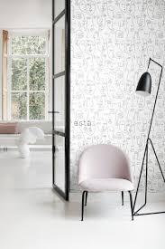 wohnzimmer tapete gesichter schwarz weiß 139145