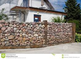 100 Gabion House Fence From Pebble Stones Stock Image Image Of Nature