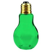 light bulb jar with gold lid 4 1 4 glass e green color