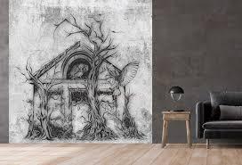 vlies tapete betonoptik poster fototapete tribal haus spukhaus