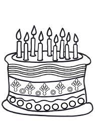 Free line Birthday Cake Colouring Page Kids Activity Sheets Birthday Colouring Pages