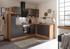 winkelküche küchenzeile l form küche einbauküche eiche grau 250x172 cm respekta