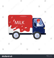 100 Milk Truck Tester Smiling Man Driving Delivery Stock Vector Royalty Free