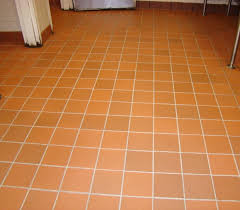 commercial kitchen tile floor after cleaned grout and sanitized