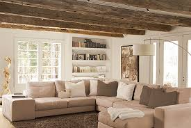 Living Room Color Ideas Magnificent Design Rustic Wooden Ceiling Brown Carpet Cream Fabric Sofa White Pillows