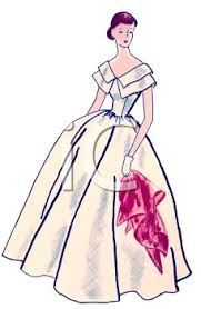 Vintage Woman Wearing A Prom Dress