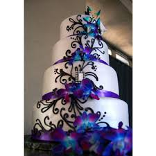 Fondant Wedding Cake With Purple Satin Ribbon Black Piped Scrolls And Fresh Orchids