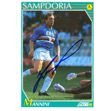100 Mannini Moreno Autographed Soccer Card Sampdoria Seria A Italy