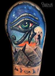 Eye Of Horus With Great Pyramid Giza Tattoo Design For Shoulder By Fred Stefani