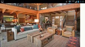 Northwest Modern Lodge Great Room Rustic Living
