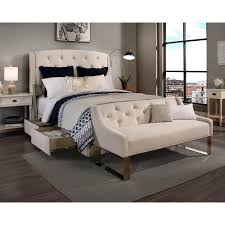 Knickerbocker Bed Frame Embrace by Peyton Ivory Queen Upholstered Bed 12341 B The Home Depot