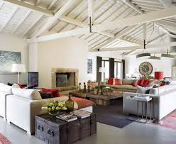 White Wooden Vaulted Ceiling With Electric Fireplace For Modern Rustic Living Room Ideas