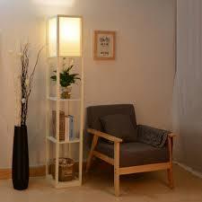 stehle mit regal holz led e27 innenbeleuchtung stehleuchte für schlafzimmer und wohnzimmer weiß
