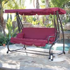 100 Burgundy Rocking Chair Outdoor Canopy Swing Motion Gilder Converting UV