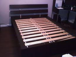 Ikea Bed Frame Queen by Hopen Bed Frame Ikea In Dark Brown Wooden Finishing Completed Ikea