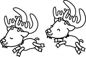 Caribou Reindeer Raindeer Xmas Christmas Coloring Book Colouring Black White Line Art 555px