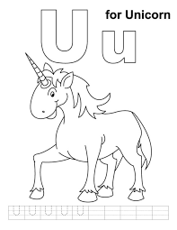 U Is For Unicorn Alphabet Coloring Pages Free