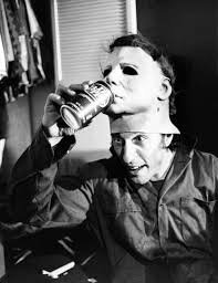 Jamie Lee Curtis Halloween 1 by Nick Castle Aka Michael Myers Gives His Mask A Drink On The Set Of