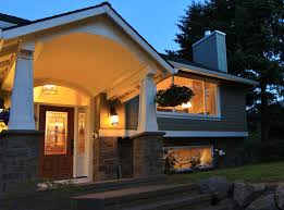 raised ranch exterior traditional with glass front door rustic