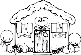Interesting Idea School House Coloring Pages Gingerbread For Kids