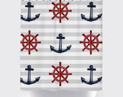 nautical tan blue shower curtain modern shower curtain
