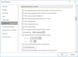 The Advanced Options Of Word Dialog Box