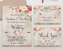 Floral Wedding Invitation Printable Suite Rustic Invite Boho S