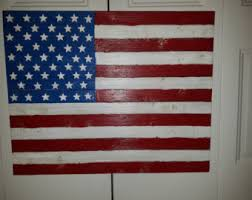 Wooden Rustic American Flag With Raised Stars