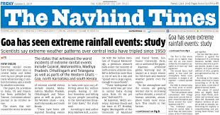 Navhind Times Front Page Goa Has Seen Extreme Rainfall Eventsstudy 6 Oct 2017 Article