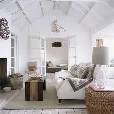 White Rustic Living Room With Gray