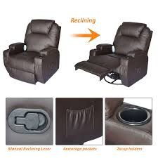 HomCom Luxury Massage Sofa Leather Adjustable Recliner Chair ... Best Massage Chair Reviews 2017 Comprehensive Guide Wholebody Fniture Walmart Recliner Decor Elegant Wing Rocker Design Ideas Amazing Titan King Kong Full Body Electric Shiatsu Armchair Serta Wayfair Chester Electric Heated Leather Massage Recliner Chair Sofa Gaming Svago Benessere Zero Gravity Leather Lift And Brown Man Deluxe
