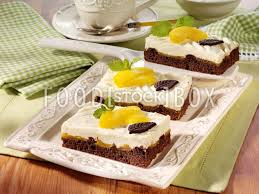 pfirsich schoko kuchen blechkuchen backen rezeptfoto