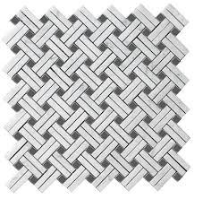 carrara bianco honed 1x2 bardiglio dot basketweave stanza mosaic