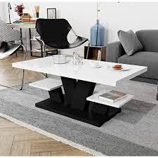 couchtisch für wohnzimmer weiß hochglanz schwarz mit zwei regalfächern stilvoller moderner weißer mitteltisch mit hochglanzplatte für und