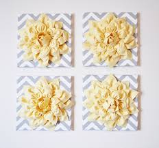 Yellow And Gray Chevron Bathroom Set by Wall Decor Set Of Four Light Yellow Dahlias On Gray And White