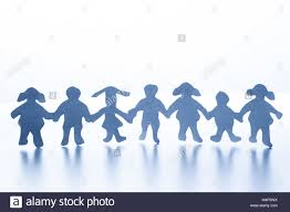 Paper Children Standing Together Hand In