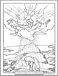 Third Day Of Creation Coloring Sheet Shows God Over The Earth With Shrubs And Trees