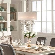 Shop Silver Mist Hanging Crystal Drum Shade Chandelier By Inspire Q Rh Overstock Com Modern Dining Room Lighting Light