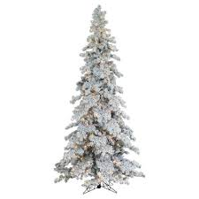 9ft Pre Lit Artificial Christmas Tree Full Heavy Flocked Layered