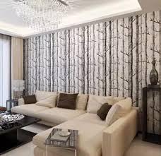 birke woods tapetenbahn moderne wandverkleidung einfache schwarz weiß tapete für wohnzimmer
