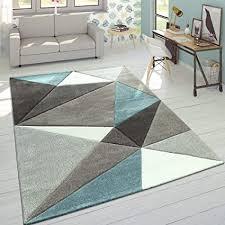 paco home wohnzimmer teppich in pastell farben moderne rauten dreieck u zick zack muster grösse 160x230 cm farbe türkis
