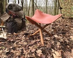 Bushcraft Tripod Leather And Oak Stool