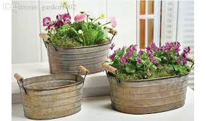 2018 Vintage Garden Flower Pot SetRustic Style Iron FlowerpotContains 3 Pots From Garden1002 11275