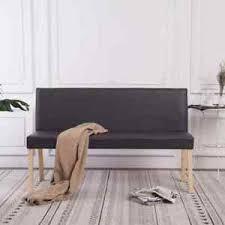 details zu vidaxl sitzbank mit rückenlehne 139 5cm grau kunstleder polsterbank esszimmer