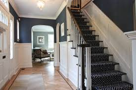 Newark Modern Stair Runner With Flush Mount Ceiling Lights Staircase Traditional And Foyer Grasscloth