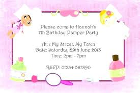 Spa Party Invitations Templates Free Birthday Printable Template Invitation P