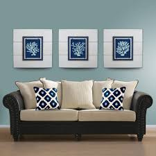 Wall Art Ideas Design Multiple Panels Set Of Three White Background Contemporary Blue Comfortable Luxurious Sofa Fabric Botanical Fascinating