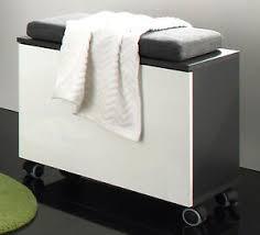 details zu bad sitzwürfel badezimmer hocker sitzcontainer weiss hochglanz grau kissen