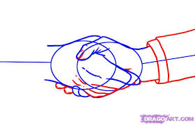 How To Draw Shaking Hands Step 3