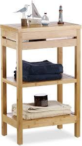 relaxdays natur bambus regal fach mit klappe einlegeboden ablagen natürliche optik schmal bad hbt 76 5x46x29 5cm standard